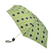 Orla Kiely Tiny 2 Daisy Stem Sage Flat Compact Lightweight Umbrella by Fulton